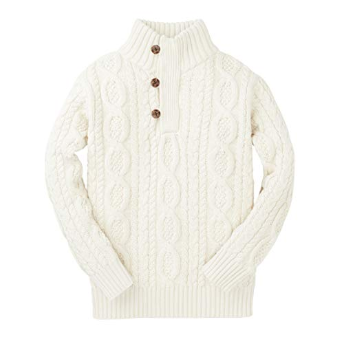 Hope & Henry Boys' Long Sleeve Mock Neck Cable Sweater with Button Placket