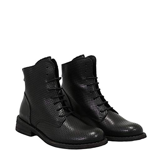 Felmini - Damen Schuhe - Verlieben GREDO 9507 - Reißverschluss Stiefeletten - Echtes Leder - Schwarz - 36 EU Size