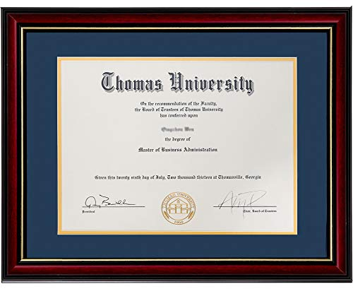 Flagship Diploma Frame Real Wood & Glass Golden Rim Sized 8.5x11 Inch with Mat and 11x14 Inch Without Mat for Documents Certificates (Double Mat, Navy Blue Mat with Golden Rim) (Navy Blue, 1)