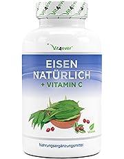 Natuurlijk ijzer + vitamine C uit kerrieblad extract & rozenbottelextract - 180 capsules (4 maanden levering) - 28 mg zuiver ijzer & 160 mg vitamine C per dagelijkse portie - Veganistisch - Hoge dosering