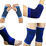 Material: Neoprene & Nylon FIT IS MEDIUM Colour: Multi Colour Fit Type: Medium Package Contents: 1 Pair of Knee support, 1 Pair of Ankle support, 1 Pair of Wrist support, 1 Pair of Elbow support Wash Care Intsructions: Only gentle wash No Dry Clean N...