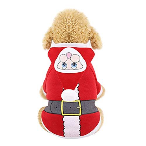 Allegorly Weihnachts Kostüm für Hunde und Katzen, mit Kapuze, SAMT, für Weihnachten, warme Party Anzug für Teddy, Yorkshire Terrier, Chihuahua, Zwerggspitz, Festliche Geschenke