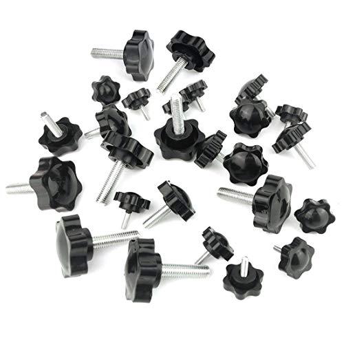 Mecion 10 PCS Black M5 x 40mm Thread Replacement Starknobs Star Hand Knob Tightening Screw