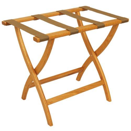 Wooden Mallet Designer Curve Leg Luggage Rack,Tan Straps, Light Oak