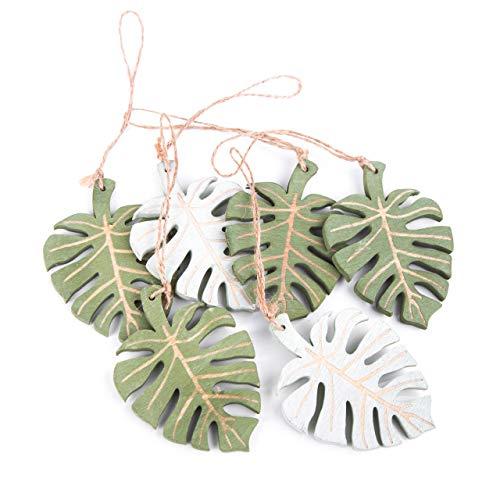 Logbuch-Verlag 6 Stück Blatt grün hellgrün Holz Anhänger Geschenkanhänger 10 cm exotisch tropisch Deko sommerlich natürliche Verpackung Bio Natur