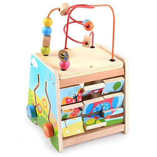 ReedG Actividad Cubo de Madera Bead Maze Actividad de Madera Cube Centro de Actividades Multifunción Bead Maze Toy Actividad de Aprendizaje Divertido Cubo (Color : Multi-Colored, Size : One Size)