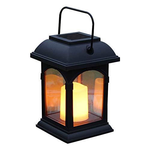 Solar Handle Light Patio Lanterns LED Flickering Outdoor Garden Portable with LED Candles for Patio Courtyard Garden