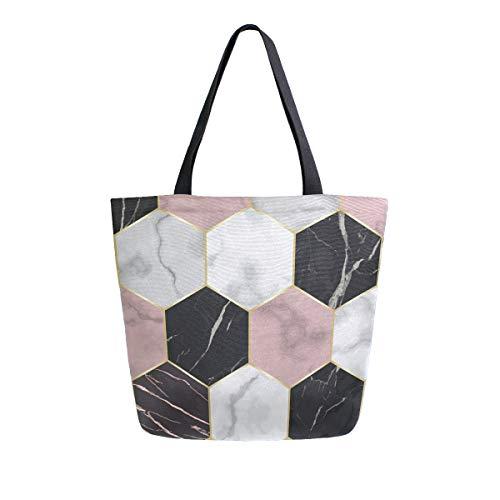 Naanle Geometrische Marmor Canvas Tote Bag Large Women Casual Schultertasche Handtasche Hexagon Marmor Wiederverwendbar Mehrzweck Heavy Duty Shopping Lebensmittel Baumwolle Tasche für Outdoor