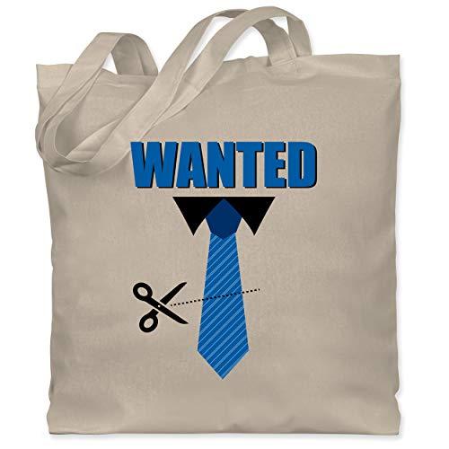 Shirtracer Karneval & Fasching - Krawatte Wanted - Weiberfastnacht - Unisize - Naturweiß - Geschenk - WM101 - Stoffbeutel aus Baumwolle Jutebeutel lange Henkel