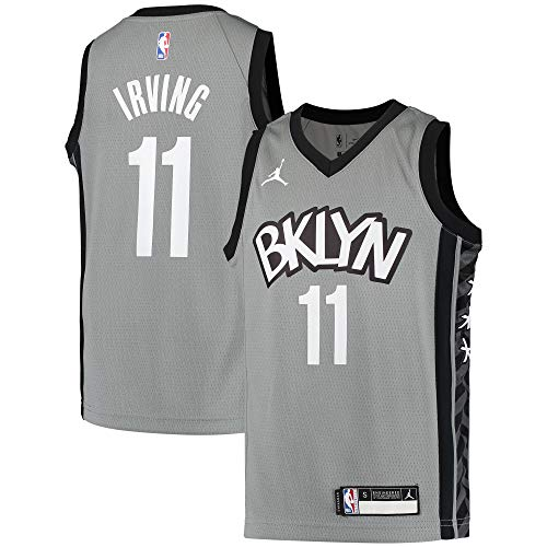 Nike Kyrie Irving Brooklyn Nets NBA Boys Kids 4-7 Gray Statement Edition Jersey (Kids 5/6)