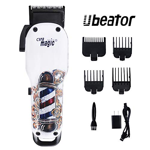 Ubeator Hair Clippers for Men Professional Cordless Hair Trimmer Grooming Kit with 4 Guide Combs USB Fast Charging Best Gift for Men/Father/Husband/Boyfriend,White