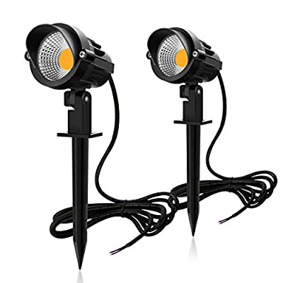 MEIKEE 7W LED Landscape Lights Low Voltage Outdoor Spotlight Led Pathway Lights Landscape Light Warm White IP66 Waterproof for Driveway, Yard, Lawn, Flood, Swimming Pool,Outdoor Garden Lights (2 Pack)