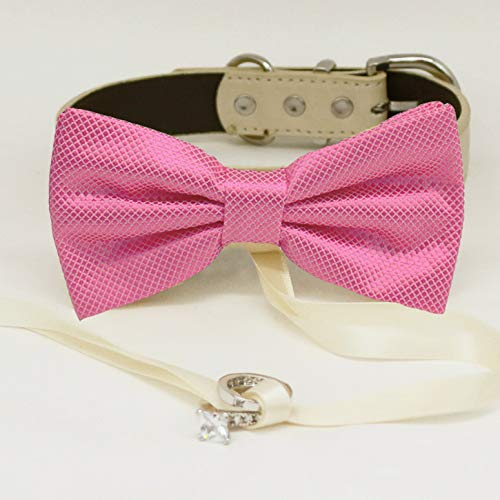 Pink bow tie collar Leather dog honor bearer of Max 58% OFF adju New Orleans Mall ring