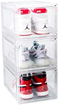 Mint Supply Shoe Storage Boxes - 3 Pack Drop Front Shoe Box - Stackable Shoe Organizers - Sneaker Storage for Sneakerheads - Ultra Clear Acrylic Plastic Display Case for Closet, Shelf & Entryway