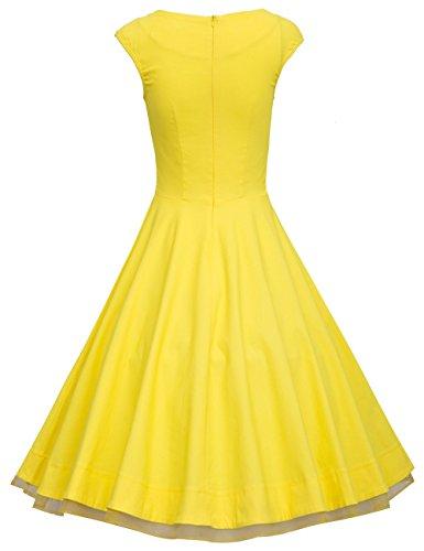 Dresstells 50er Retro Audrey Hepburn Schwingen Pinup Polka Dots Rockabilly Kleid Black 2XL - 2