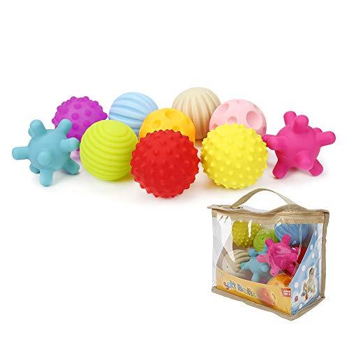 Dightyoho Bolas Sensoriales Bebé Piscina sin BPA con Sonido, 10pcs Juguetes para Niños 1-4 años, Pelotas de Masaje de Diferentes Texturas … (10PCS)