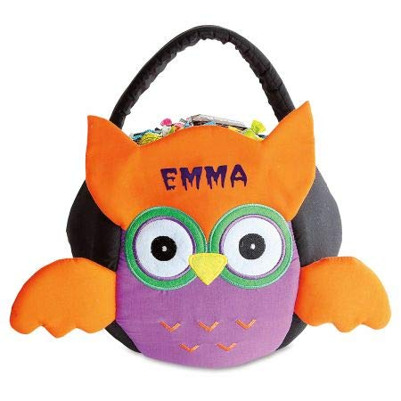 """Lillian Vernon Owl Personalized Halloween Treat Bag – Small Trick or Treat Tote & Candy Basket for Kids, Polyester/Cotton, 9"""" x 9"""" x 11"""" (top to Bottom of Bag)"""