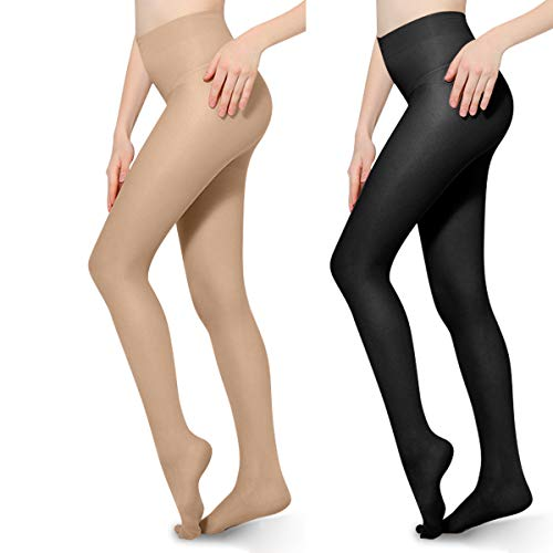 2 PCS 20-30mmHg Compression Pantyhose Opaque Support Pantyhose Closed Toe for Women Men Help Relieve Swelling Varicose Veins Edema Black Beige L