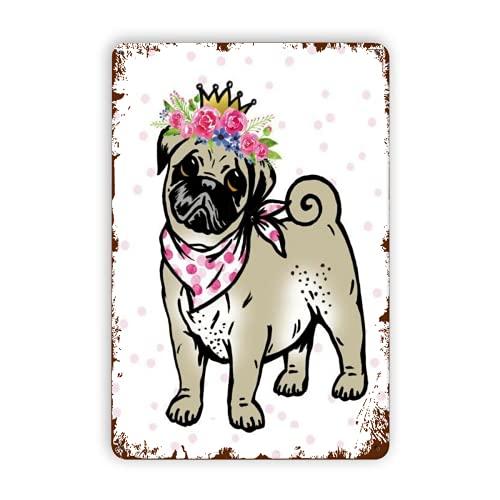Aperiy Pug Dog With Flower Garland Paper Napkin Serviette For Decoupage Scrapbooking