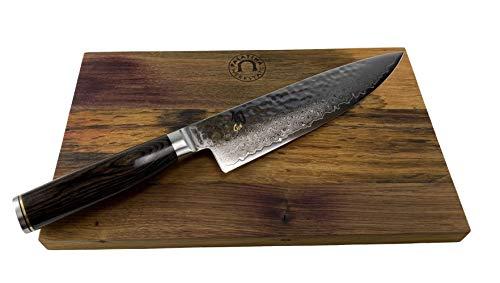 KAI Shun Premier Bundle | Tim Mälzer TDM-1706 | ultrascharfes japanisches Messer aus Damaststahl, 20 cm Klinge | + handgefertigtem Küchenbrett aus der Pfalz 30x18 cm aus Weinfassholz, VK: 259,- €