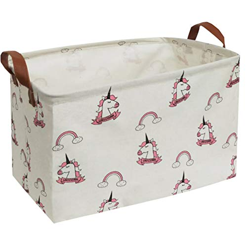 Essme Rectangular Fabric Storage Box,Collapsible Storage Basket Bins Organizer with Handles for Kids Room,Shelf Basket,Toy Organizer (Rainbow Unicorn)