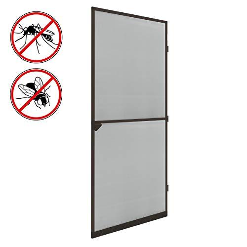 ECD Germany Mosquitera Enrollable para Puerta Ventana Color Marrón Resistente a la Intemperie 100x220 cm Tela de Fibra de Vidrio Armazón de Aluminio Malla Protectora Hogar contra Insectos Mosquitos