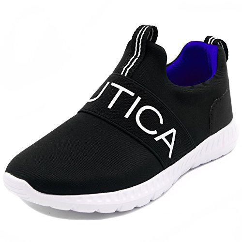 Nautica Kids Boys Sneaker Comfortable Running Shoes-Canvey Youth-Black-4
