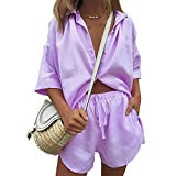 Women's Casual Loose Short Sleeve Button Cardigan Shirt...