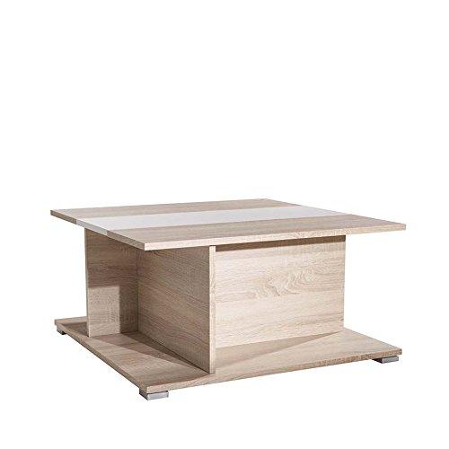 Symbiosis Manhattan A1 Tavolino, Truciolare, Quercia/Bianco, 37.2 X 73.6 X 73.6 Cm