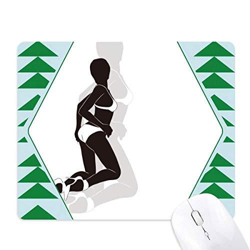 Hot Woman Bikini Silhouette muismat groene dennenboom rubberen mat
