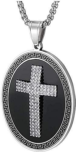 Collar con colgante de medalla ovalada de acero negro plateado para hombre CZ llave griega ónix negro