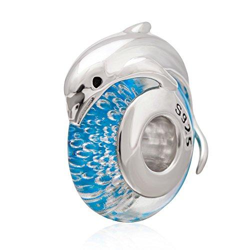 Sunstar 925sterling Silver blu perline di vetro delfino fascino Fit bracciale collana per bambini e donne