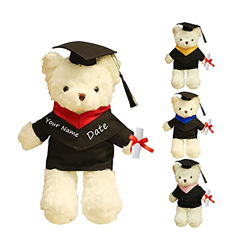 Oso de Peluche de graduación Personalizado, Juguete de Peluche con Nombre y Fecha Personalizados, Regalos de Regalo para el día de graduación de 15,7 Pulgadas
