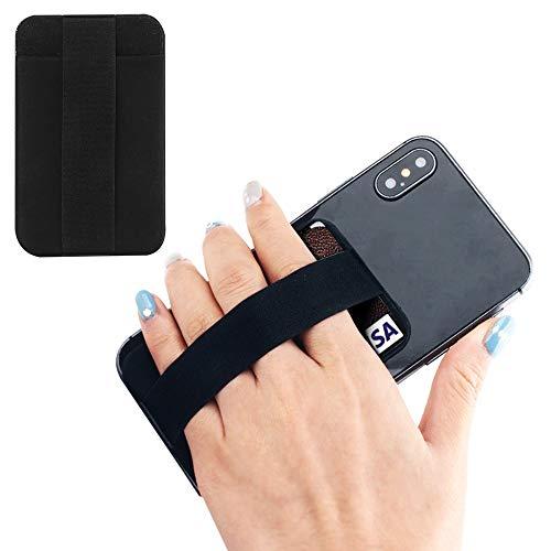 Youngme - Soporte para teléfono celular con tarjetero, cartera para teléfono móvil, cartera delgada con correa elástica para teléfono móvil, correa de mano Kindle (una bolsa negra y banda negra)