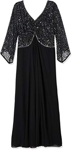 J Kara Women's Plus Size 3/4 Sleeve V-Neck Beaded Top Long Gown, Black/Gun/Mercury, 20W