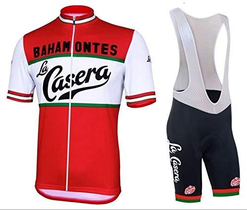 WOLFIRE WF Traje de Ciclismo para Hombre de Equipos. Culotte y Maillot. con 5D Gel Pad. para MTB, Spinning, Bicicleta de Carretera (La casera, XL)