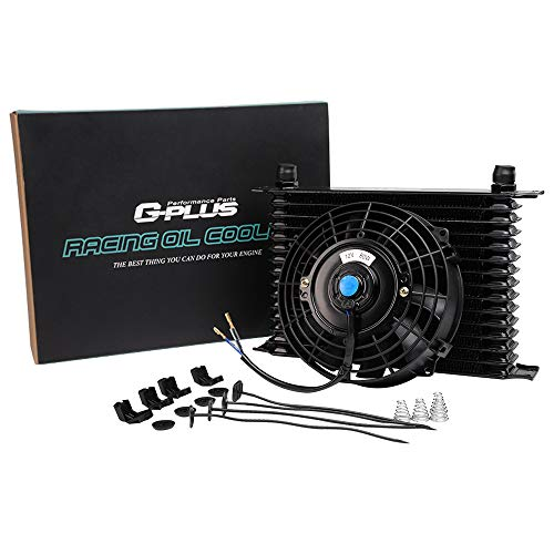 15 Row 10AN Universal Engine Transmission Aluminum Oil Cooler With 7' Electric Fan Kit Black