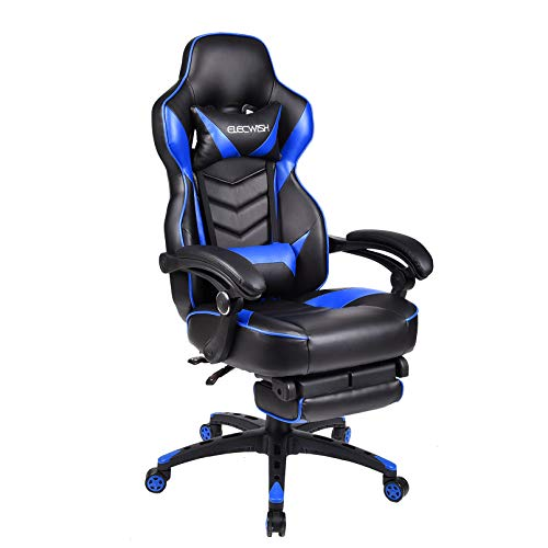 YU YUSING Racing Gaming Stuhl Drehstuhl Computerstuhl Ergonomisches Sportsitz Höhenverstellbarer Bürostuhl Chefsessel Schreibtischstuhl mit Kopfstützen Armlehnen Fußstützen (Schwarz & Blau)