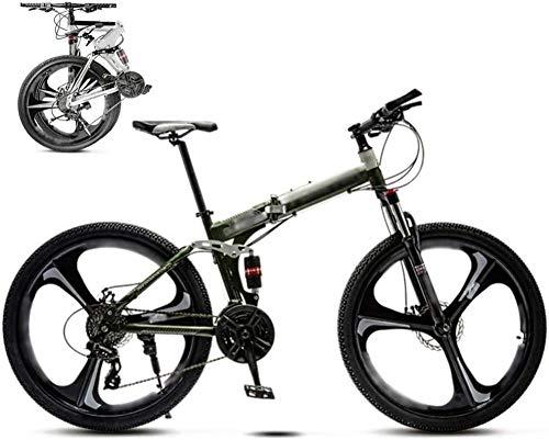 Bicicleta MTB de 26 pulgadas unisex plegable de 30 velocidades, bicicleta de montaña, todoterreno, velocidad variable, para hombres y mujeres, freno de disco doble, verde, 21 velocidades