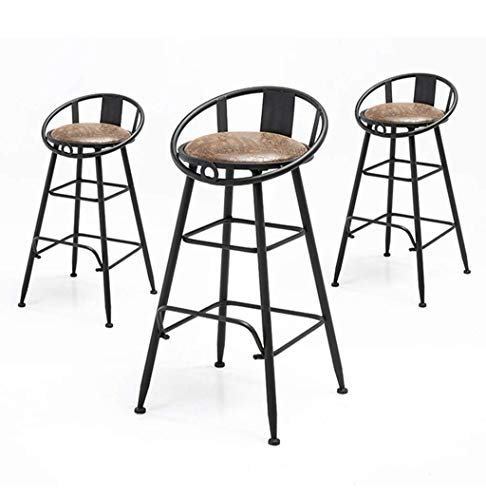 AYU Barstools Chair Footrest High Stool Upholstered Dining Chairs as Stool for Kitchen,Pub,Breakfast Stool, Set of 3, Brown Faux Leather Seat Gold Metal Legs,MAX Load 200kg