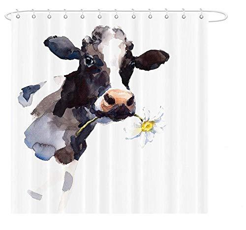 Brandless Kuh Bauernhaus Duschvorhang Blume Tiermalerei Kunst Badezimmer Dekor wasserdichtes Polyester-180 cm x 220 cm