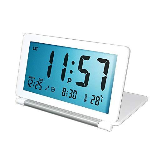 Mopoin Despertador digital plegable de viaje, pantalla LCD, con indicador de temperatura, calendario, función de repetición y alarma, reloj de mesa a pilas, para salón, 12/24 horas, color blanco