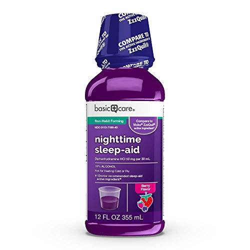 Amazon Basic Care Night Time Sleep-Aid Liquid, Helps You Fall Asleep, Relieves Occasional Sleeplessness, Mixed Berry Flavor, 12 Fluid Ounces