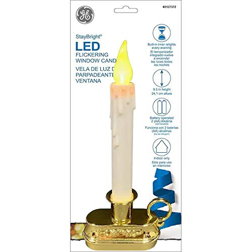 GE StayBright LED 9.5-in Battery Operated Window Candle Gold Base 78206LO