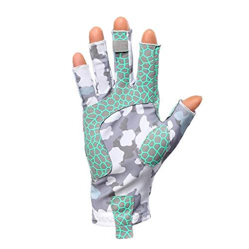 Fishing Gloves Fingerless Men Women UPF 50 Half Finger Sun Gloves for Cycling Hiking Trekking Fly Fishing Hunting Shooting Paddling Kayaking Rowing Sailing (Gray Camo, Medium)