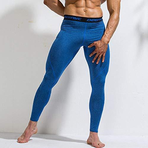 Fitness Running Tights Leggings Hombres Pantalones De Compresión Gym Sportswear Yoga Workout Legging Basketball Tights Chándal-Azul_Metro
