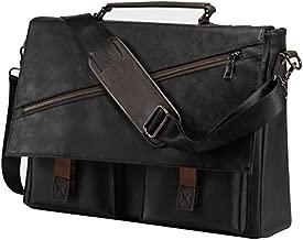 Leather Messenger Bag for Men, 15.6 Inch Vintage Leather Laptop Bag,Business Shoulder Bookbag Briefcase Satchel, Computer School Work Bag(Black)
