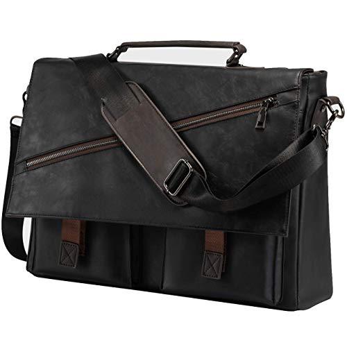 Leather Messenger Bag for Men, 14 15.6 17.3 Inch Vintage Leather Laptop Bag Briefcase Satchel,Large School Work Bag (Black-17.3inch)