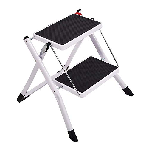 Livebest Folding 2 Step Stool Mini 2 Step Ladders with Handle Anti-Slip Wide Pedal 330 lbs Capacity for Kitchen Garage Home for Pet Cat and Dog Step Climb Stool