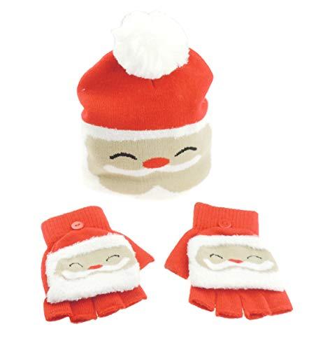 Ensemble bonnet et gants de Noël en tricot fin pour filles et garçons multicolore 3 up to 8 Years